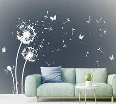 wandtattoo pusteblume flugsamen schmetterlinge weiß