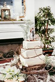 Rustic Square Wedding Cake With Twig Accents