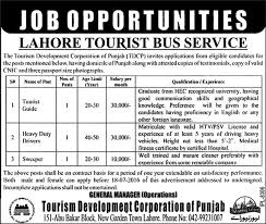 Lahore Tourist Bus Service Jobs 2016 July TDCP Guide Driver Sweeper Latest