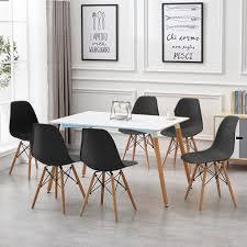 esstisch mit 6 stühlen schwarz esszimmer essgruppe 120x60x75cm für esszimmer essgruppe kombipakete