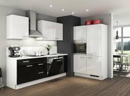 küche weiß schwarz hochglanz