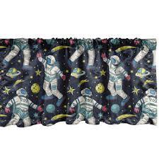 gardine vorhang volant für küche schlafzimmer dekor mit stangentasche abakuhaus weltraum astronauts galactic kunst