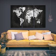 leinwand bilder weltkarte schwarz bunt silber landkarten