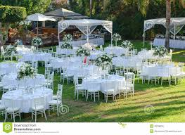 Extraordinary Outdoor Wedding Decors Reception Decorations Stock Photo Image
