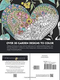 Amazon Creative Haven Midnight Garden Coloring Book Heart Flower Designs On A Dramatic Black Background Adult 9780486803180 Lindsey