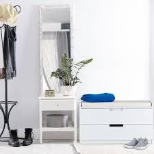 sitzkommode garderobenbank mit 2 schubladen landhausstil auflage zum sitzen hbt 45 x 80 x 36 cm weiß