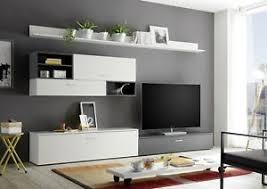details zu wohnwand new vision weiß grau mdf 4 teilig anbauwand wohnzimmer tv wand