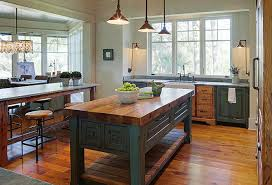 Farmhouse Kitchen Island Table Style With Butchers Block Countertop
