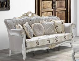 casa padrino barock wohnzimmer sofa mit glitzersteinen und blumenmuster hellgrau creme beige weiß gold 215 x 80 x h 120 cm barock möbel