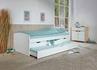 stauraumbett mit 2 liegeflächen rieka massivholz weiss 90 x 200 cm 3 schubladen funktionsbett schlafzimmer kinderzimmer inkl gästeliege