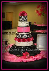 Hot Pink Black white Damask Wedding Cake on Cake Central