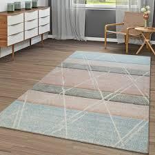 teppich bunt apricot blau wohnzimmer weich rauten muster
