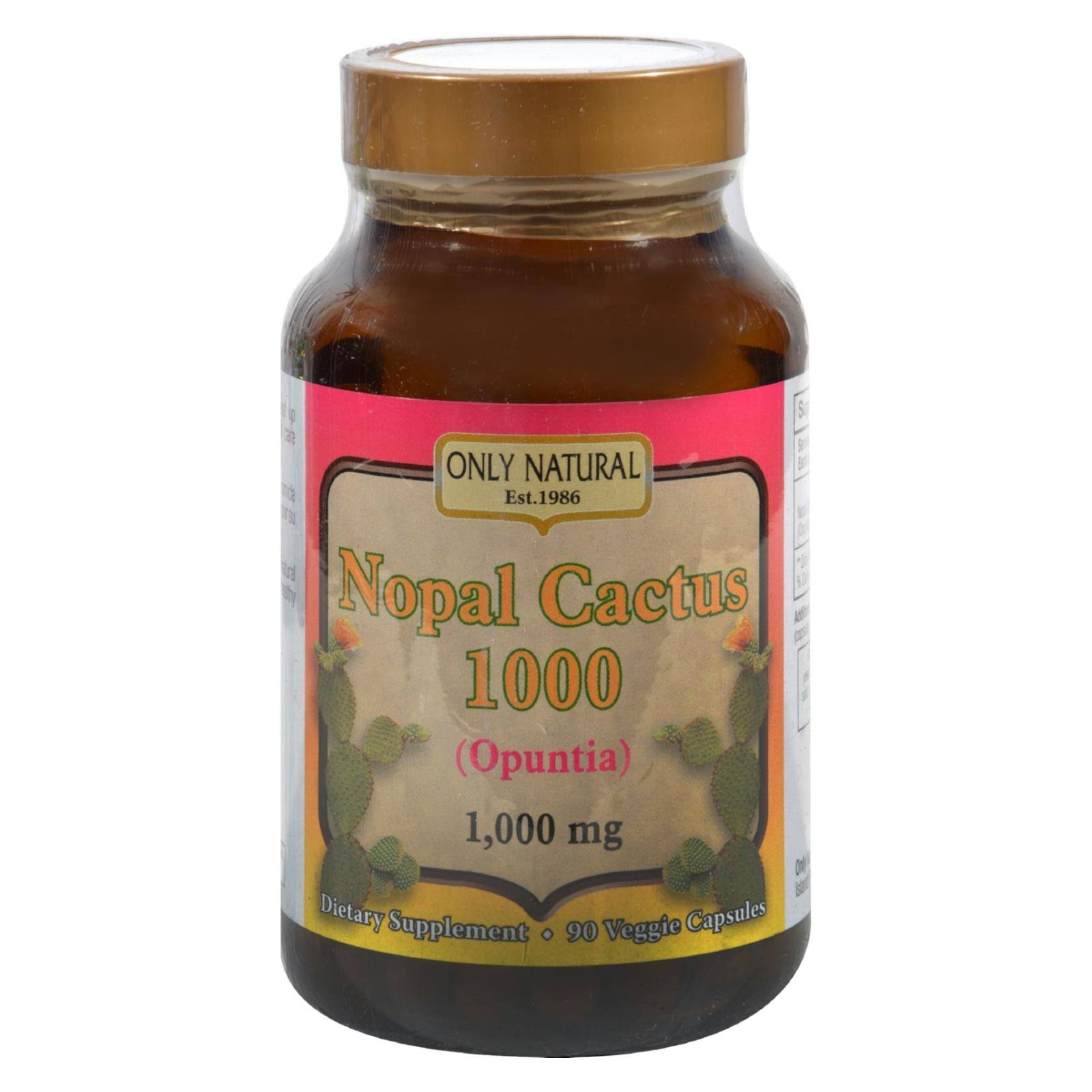 Only Natural Nopal Cactus Veggie Capsules Supplement - 1000mg, 90ct