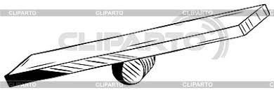 Seesaw Consisting Of A Plank Over Log Wood Leaning Precariously To One Side Black And White Hand Drawn Vector Illustration