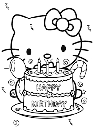 Click To See Printable Version Of Happy Birthday Hello Kitty Coloring Page