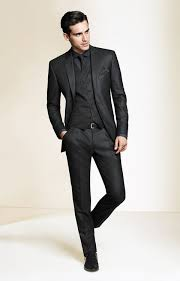 Try Teaming A Black Suit With Graphic Waistcoat Like True Gent Why Charcoal Dress Shirt
