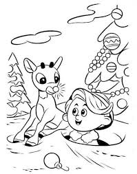 Rudolph Reindeer And Hermey Coloring Page