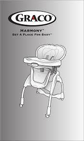 graco high chair harmony high chair user guide manualsonline com