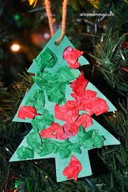 Christmas Tree Ornament Crafts Toddlers Simple Tissue Paper Shaped Craft