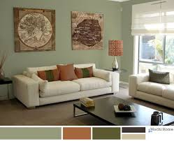 Living Room Color Scheme Warm Sage Green With Rusty Orange