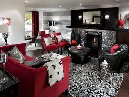 Delighful Living Room Decor Red Black Decorating Ideas Inside Design