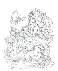 Faerie Coloring Pages Butterfly Fairy Rose Colouring Adult Detailed Advanced Printable Fairies Book