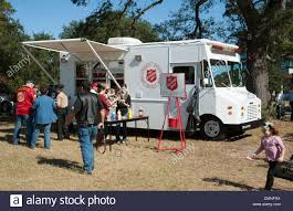 Salvation Army Emergency Disaster Services Truck Serving Food On ...