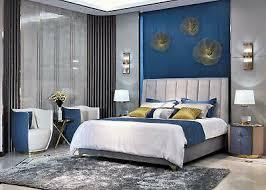luxus schlafzimmer edelstahl leder bett nachttisch sessel 6tlg design möbel set