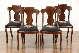 SOLD - Set Of 4 Empire 1830's Antique Dining Or Game Table Chairs ...