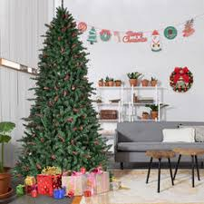 Goplus 8FT Artificial PVC Christmas Tree Hinged 2528 Tips W Pine Cones Red Berries