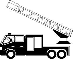 Clipart Of A Cartoon Black And White Male Fireman Driving Fire Truck ...