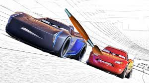 Cars 3 The Movie Jackson Storm VS Lightning Mcqueen Coloring Book Page 1 For Kids 2017