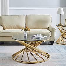 mingor circular wohnzimmer couchtisch couchtisch aus glas edelstahl rund 50 cm gold 80cm