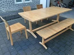 eiche massiv esszimmertisch mit bank und drei stühlen