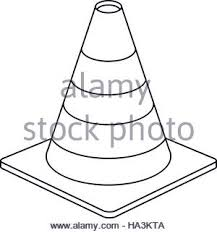 Construction site traffic cone warning sign design outline Stock