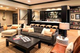 Built In Bar Ideas Basement Transitional With Gray Sofa Black