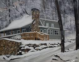 Cherry Cabin in the Woods Jan Korne Dappen Canvas