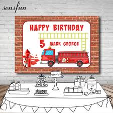 100 Fire Truck Birthday Party Brick Wall Men Ladder Backdrop For Happy Backdrop