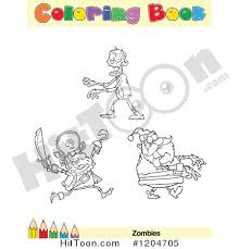 Cartoon Of A Coloring Book Page With Zombie Outlines Text And Colored Pencil Border