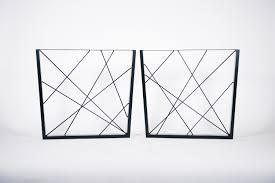 100 Art Deco Shape Reverse Trapezium Black Geometric Industrial Steel Metal Dining Table LegsFrames PAIR