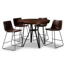 Baxton Studio Carvell 5-Piece Dark Brown Pub Set 149-89668967-HD ...