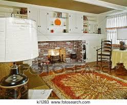 1960s innere wohnzimmer mit shag gebiet teppich