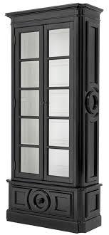 casa padrino luxus vitrine schwarz weiß 113 x 46 x h 240 cm massivholz vitrinenschrank wohnzimmerschrank mit 2 glastüren und schublade luxus