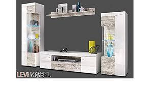moebelaktionsshop24 wohnwand 4 tlg wohnzimmer lowboard weiß