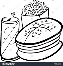 Black and White Cartoon Illustration of Fast Food Set with Hamburger and French Fries and Soda