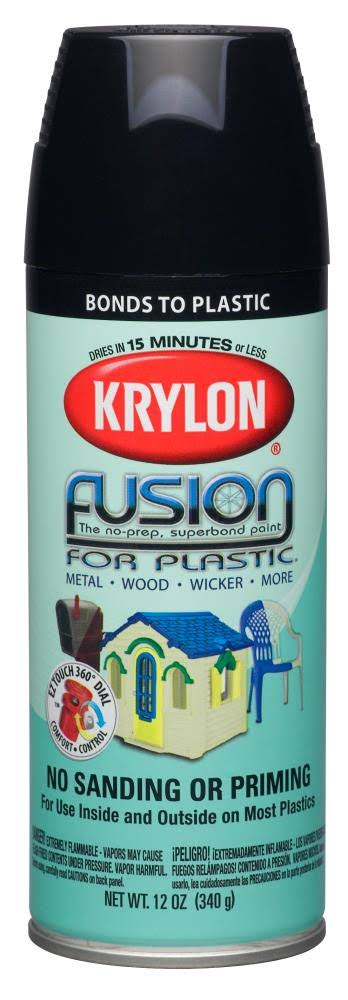Krylon Fusion Spray Paint - Black, 12oz