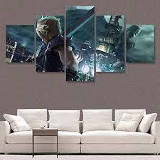 remake cloud strife leinwand malerei 5 panel wohnkultur modulare poster wandbilder für wohnzimmer gerahmte 20x35 20x45 20x55 cm mit