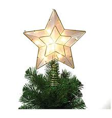 White And Gold Star Light Up Christmas Tree Topper With 10 Lights