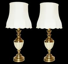 Stiffel Table Lamps Vintage by Stiffel Brass U0026 Porcelain Lamps U0026 Shades A Pair Chairish