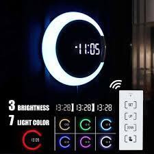 meigar 3d wanduhr led digital tisch uhr alarm spiegel hohl wanduhr moderne design nachtlicht hause wohnzimmer dekoration
